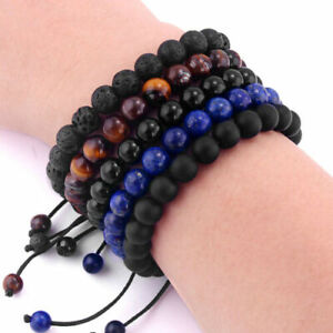2019 Women's Natural Stone Beaded Braided Rope Bracelet 8mm Black/Blue Jewelry