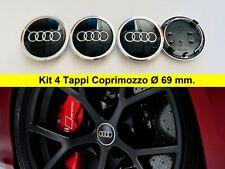 4 Tappi Coprimozzo Audi 69 mm nero A1 A3 A4 A5 A6 Q3 Q5 Borchie Cerchi in Lega