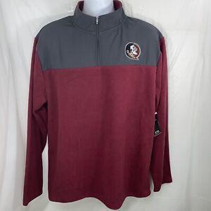 NEW FSU Mens XL Fleece 1/4 Zip Sweatshirt Florida State University Seminoles