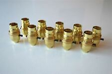More details for 10 switched brass bayonet fitting lamp bulb holder earthed shade ring 10mm l9