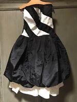 e0dd3d081de Gunne Sax vintage formal Black white Taffeta Bubble Skirt Strapless Dress  Gown