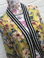 BNWT River Island Kimono Lightweight Jacket Blazer 8 Yellow Floral Beaded Beach