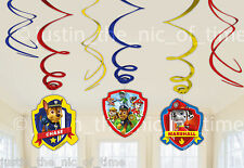 PAW PATROL Boys Girls Birthday Party SWIRL DECORATIONS x6