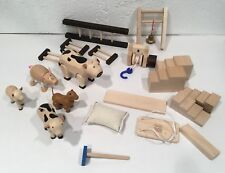 Anamalz Plan Toys Lot Wooden Farm Animals Accessories Toy Well Ladder 20 Pcs