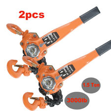 2PCS* 1-1/2 TON LEVER BLOCK HOIST CHAIN RATCHET COME ALONG CHAIN HOIST 1.5t 5ft