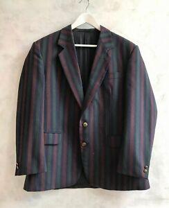 "Vintage SKOPES MENSWEAR Blue Claret Green Striped Retro Blazer Jacket L 42"" Ch"