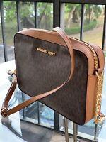 Michael Kors Women medium Large Leather Crossbody Handbag Bag Brown Gold Purse
