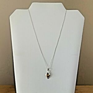 Vintage Solid Sterling Silver 925 Amber Necklace 46cm chain 2.25 grams