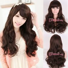 US Stock Women Fashion Wigs Long Dark Brown Natural Wavy Full Bangs Hair Wig
