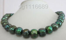 "natural 11-12mm tahitian baroque peacock green pearl necklace 17"" 14k"