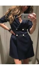 ZARA New Navy Blazer Dress With Puff Shoulder Pearls Buttons S Uk 8/10