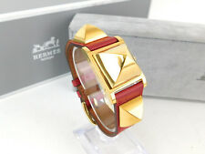 Authentic HERMES MEDOR Gold Plated Red Leather Bracelet Quartz Ladies Watch