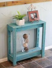Rustic Wooden Entry Table in Turquoise , Small Entry Table
