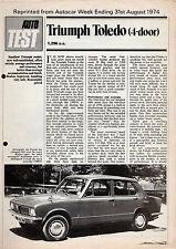 Triumph Toledo 4-dr Road Test 1974-75 UK Market Foldout Sales Brochure Autocar