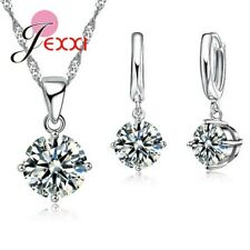 925 Sterling Silver Clear Cubic Zirconia Necklace Pendant and Earring Set *UK*