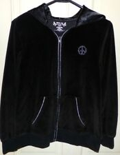 Girls Size XL 18.5 Jacket Hoodie Black Velour Peace Sign Full Zip Total Girl