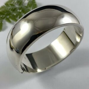 Sterling Silver 925 Hinged Statement Bangle 52gms Chunky Modern & Simple 18cm