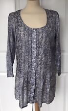 EAST BOUTIQUE, Blue And Ecru Pure Silk Blouse, Size 10, EXCELLENT CONDITION