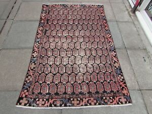 Vintage Worn Hand Made Traditional Oriental Wool Pink Blue Red Rug 187x118m