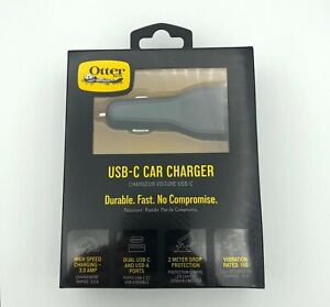 Otterbox USB-C & USB-A Fast Charge Durable Dual Port Car Charger Black
