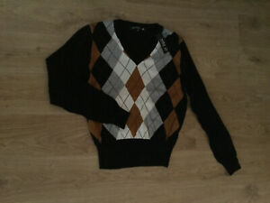 Milla Black Jumper Size M fits 12 Argyle Check Front Cotton New With Tags