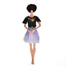 2 Pcs/set Black and Blue Grid Dresses for s Princess Dolls with Hat Pip TB
