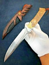 Handmade Forged Damascus Steel Hunting Knife Straight Back Fixed Blade Sheath 4""