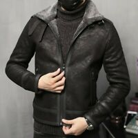 Winter Men Outdoor Sueded Leather Jacket Cashmere Lined Overcoat Motorcycle Warm