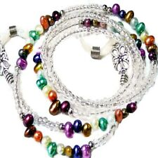 Genuine pearl rainbow Reading eye glasses spectacle chain holder lanyard gift