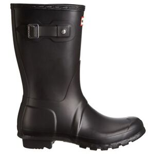 Hunter Original Short Wellies Black Womens Rainboots