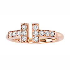 """0.37ctw Diamond """"T"""" Wire Ring 14k Rose Gold Size 6 NEW with TAGS Handmade in USA"""