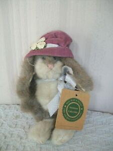 """Boyds Bears ~ Rabbit ~ Hat & Roses ~ 7"""" Jointed Plush ~ with Tag (no name on tag"""