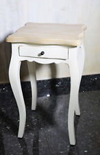 Table Appoint Tiroir Bois Acajou Style Provencal Retro Vintage Blanc Patine
