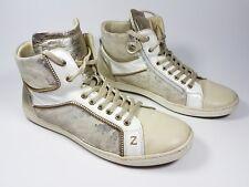 Zecchino D'oro cream girls leather hi top trainers uk 6.5 eu 40