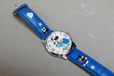 New listing Mickey Mouse Matador Character Watch Quartz Battery Asb Blue Strap Band Runs