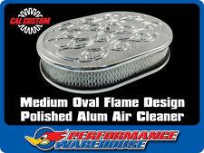 CAL CUSTOM AIR CLEANER KIT OVAL MED FLAME DESIGN BILLET ALUMINIUM HOLLEY