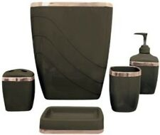 Carnation PBS-13 Five Piece Plastic Bath Accessory Set in Brown Finish New