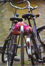 vertrauensvoll aneinander gelehnt Ansichtskarte zwei Fährräder mit Blumen