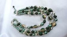 Vintage Signed Japan Green Triple Strand Beaded Necklace Clip Back Earrings