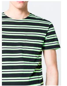 Neon Green T-Shirt, Cheap Monday, Striped T-Shirt, Mens Streetwear, E-boy, L