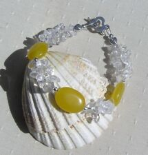 "Yellow Jade & Clear Quartz Gemstone Crystal Bracelet ""Sunflower Mist"""
