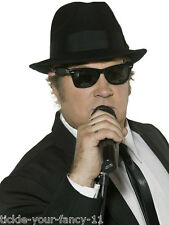 Anni/'80 BLUES BROTHER Cappello /& Occhiali Set Costume American Gangster Cappello PARTY
