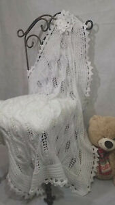 Hand Knitted Baby Blanket Lace Shawl Christening Baptism Newborn Baby Gift