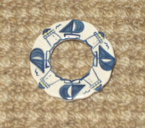 The Potting Shed Dedham Pottery Circle Lighthouse & Sailboat Pin - Flaw