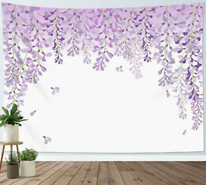 Purple Drooping Vine Flower Floral Tapestry Wall Hanging For Living Room Bedroom