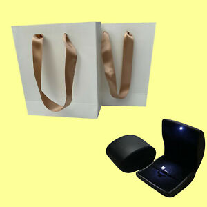 Luxury Jewellery Bag Ribbon Handle Gift Bag and Led Light Leatherette Ring Box