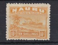 BC302) Nauru 1924/48 10/- Yellow SG 39A mint lightly hinged.