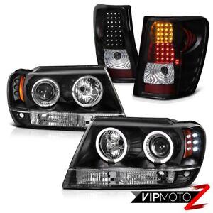 For 99-04 Jeep Grand Cherokee WJ Black Halo Angel Eye Headlights LED Tail Lights