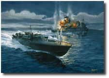 """Action in the Slot"" by Tom Freeman WWII PT Boat- PT-124 Pacific 1943- Naval Art"