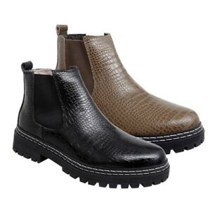 Men's Chelsea Boots Stretch Slip-on Platform Party Club Western High Top Shoes L